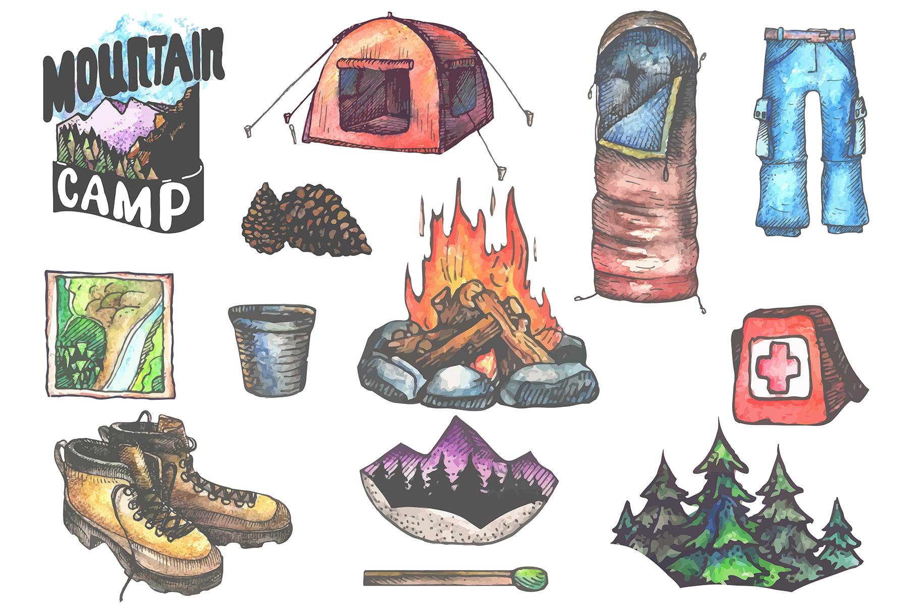 12 Camping equipment illustrations | Vol.2 example image 2