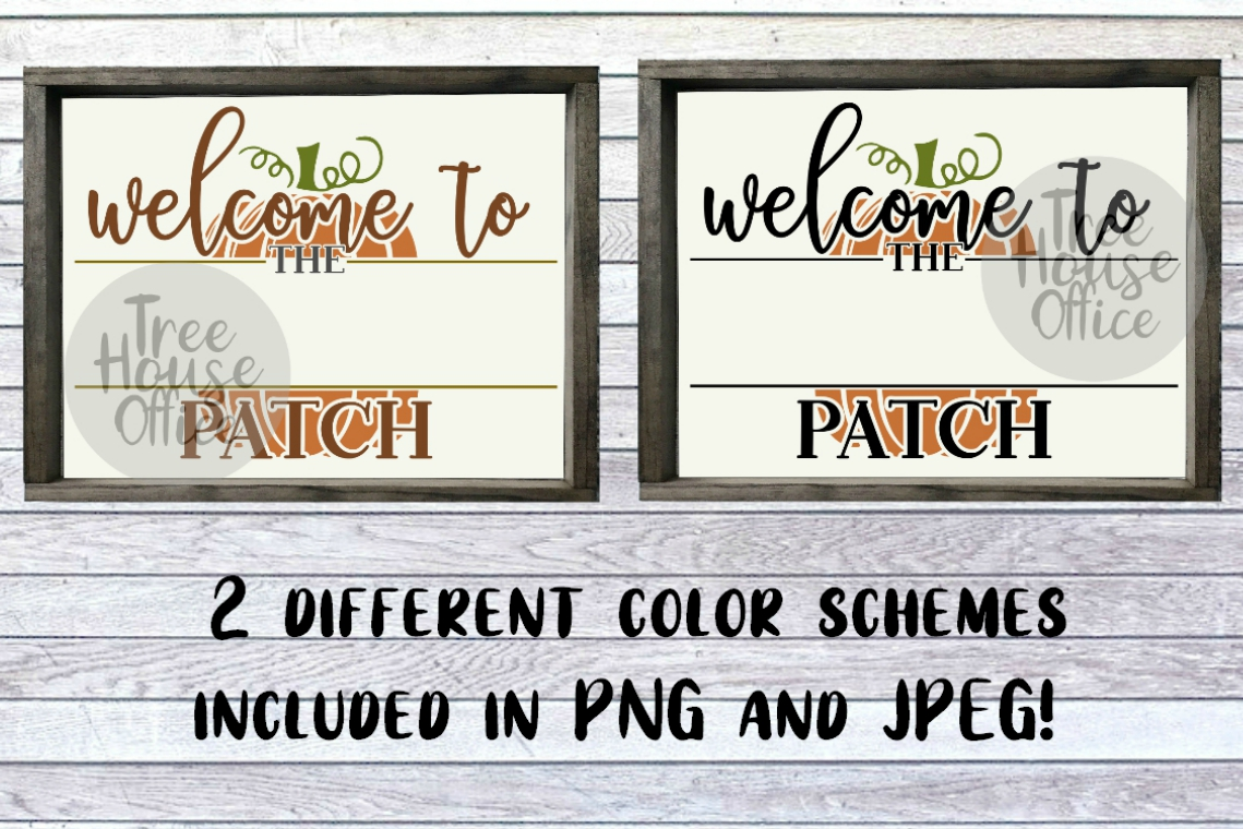Welcome To Our Patch Front Porch Pumpkin Sign SVG PNG JPEG example image 4