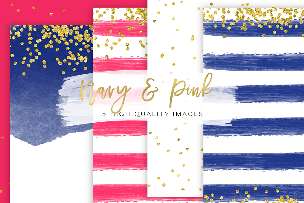 Pink and Navy blue, Business Blog paper, Neon Pink & Navy blue Chic paper, gold navy blue paper, gold pink paper Gold Foil Glitter texture example image 2