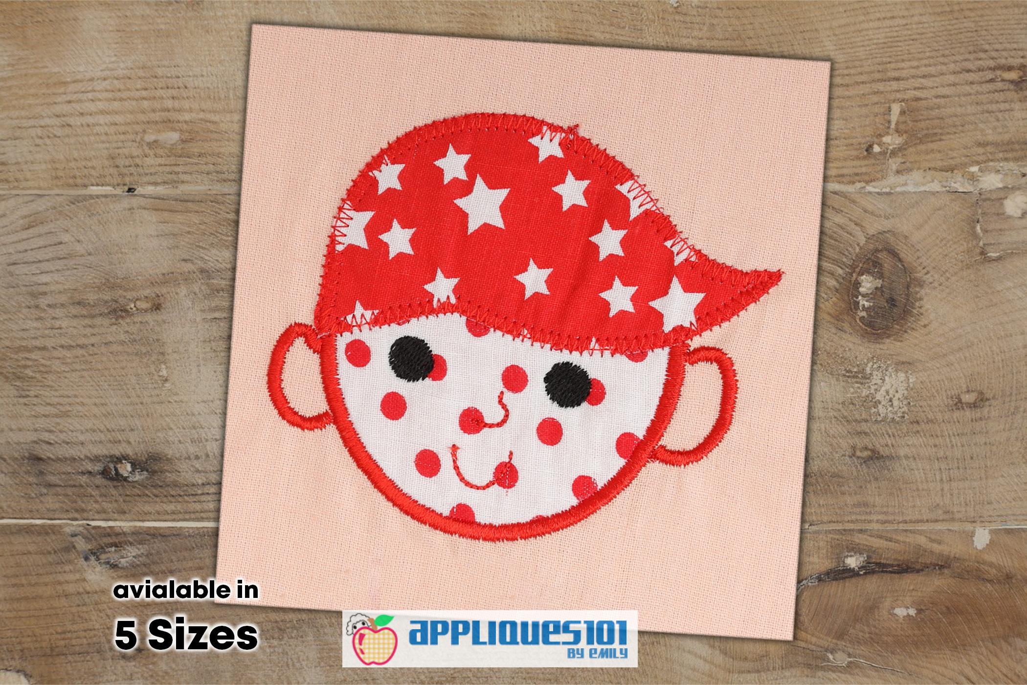 Cartoon Boy Face Machine Embroidery Applique Design - Boys example image 1