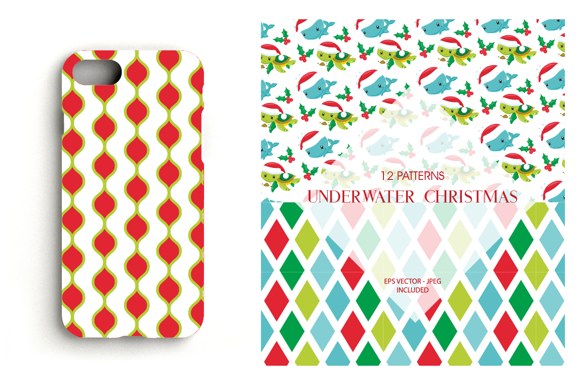 Christmas Underwater Pattern collection, vector ai, example image 4
