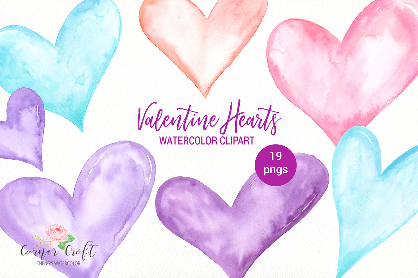 Watercolor Valentine Hearts Clipart example image 1