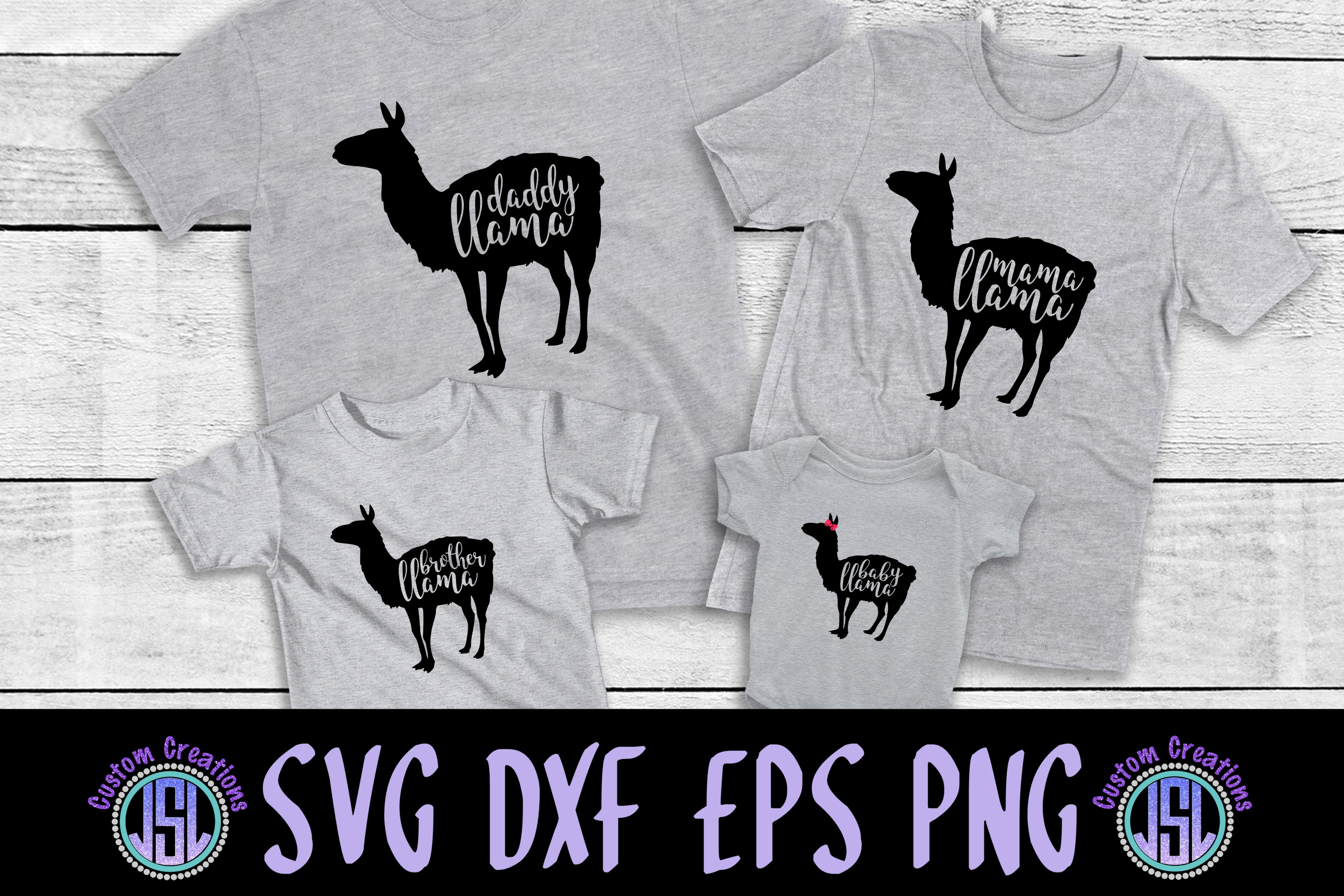 Daddy, Mama, Brother & Baby Llama Set of 4 | SVG DXF EPS PNG example image 1
