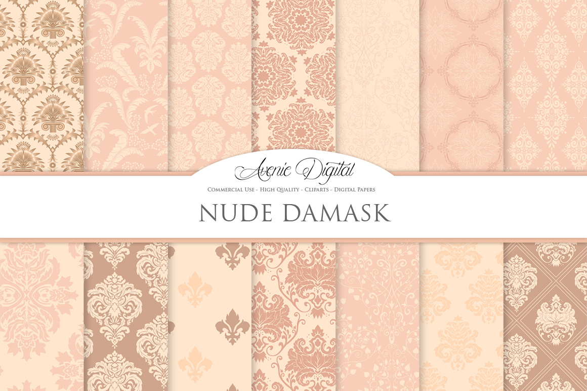 28 Nude Damask Patterns - Wedding Seamless Digital Papers Bundle example image 2