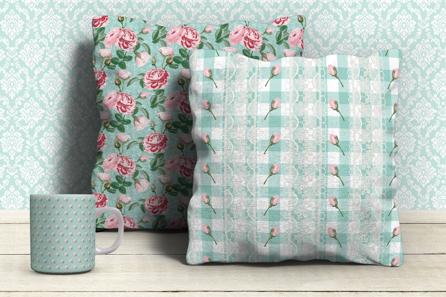 Shabby chic pink roses seamless patterns example image 6