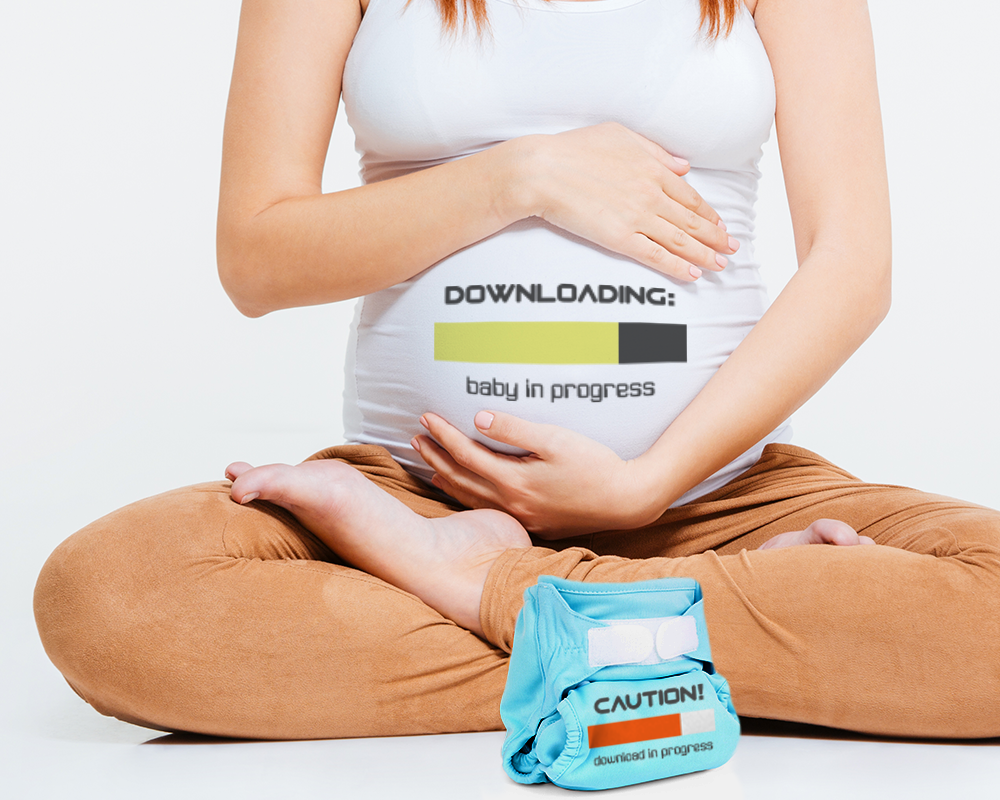 Pregnancy and Diapers Downloading SVG File Cutting Template example image 1