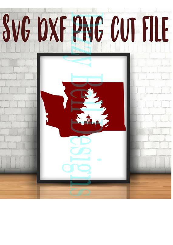 WASHINGTON State Seattle Skyline & Evergreen Tree SVG example image 2