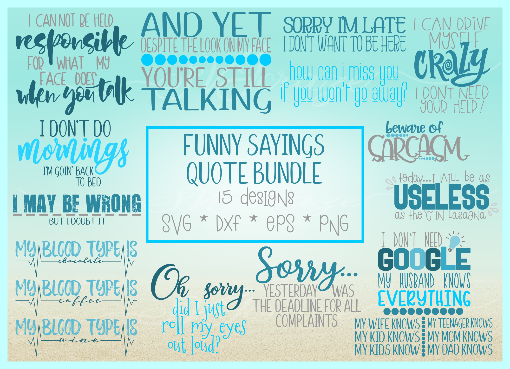 Funny Sayings Quote Bundle SVG Dxf Eps Pdf PNG files for Cri example image 3