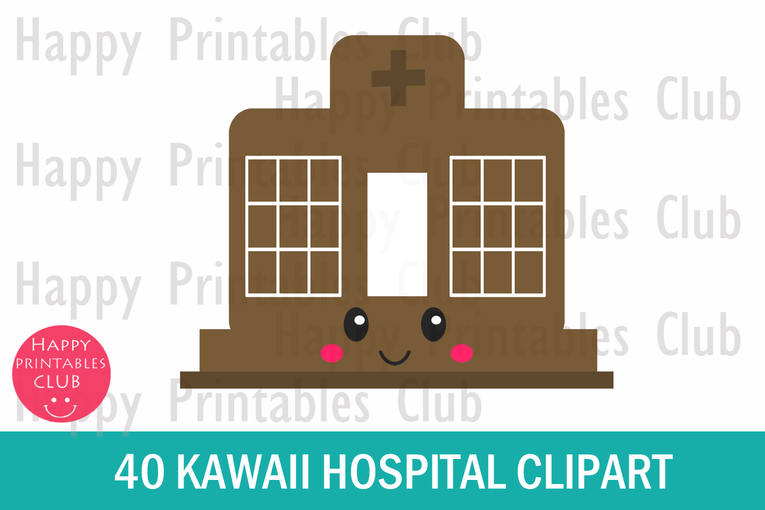 40 Kawaii Hospital Clipart- Hospital Clipart- Cute Hospital example image 2