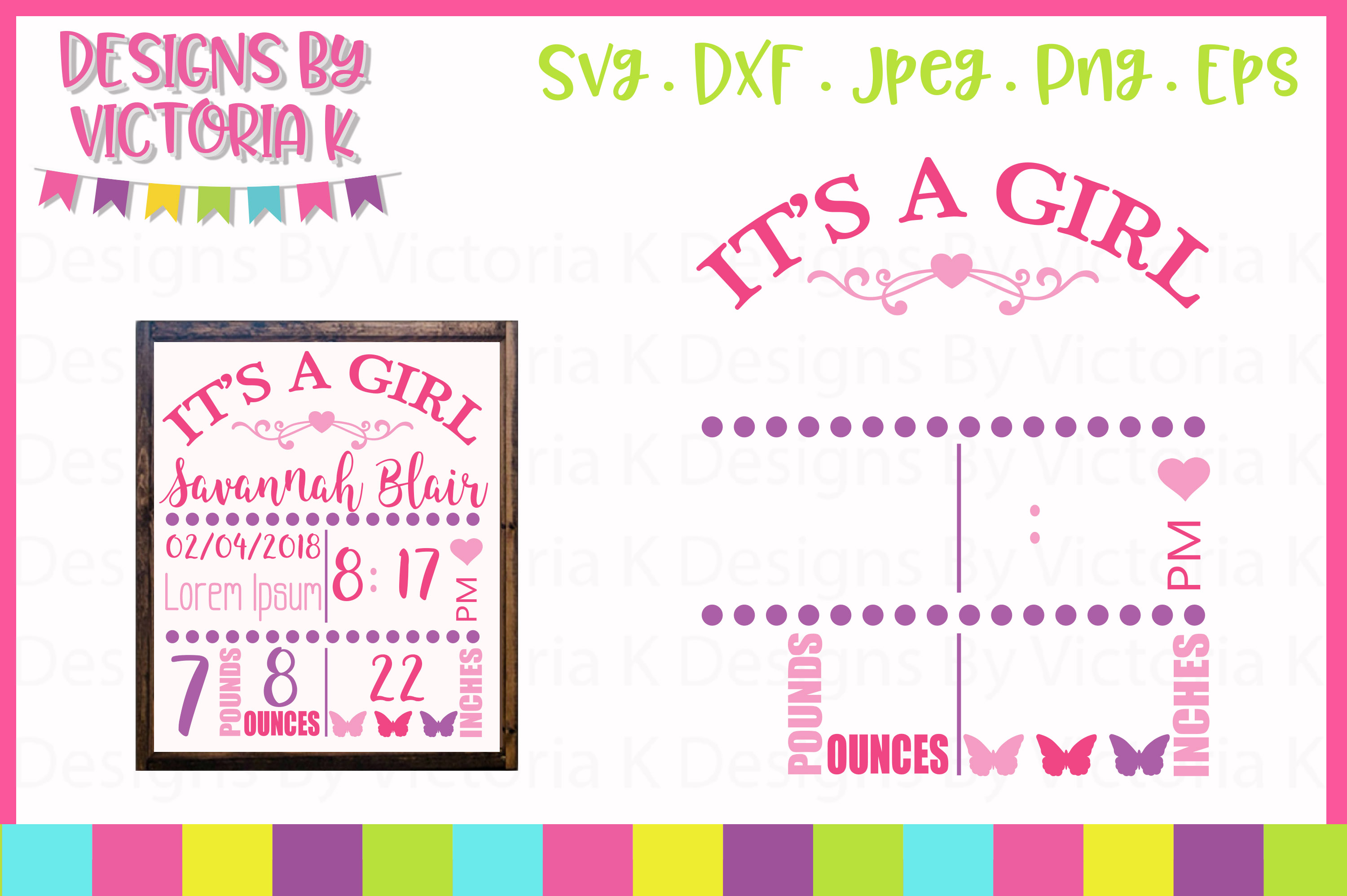 Birth announcement template, birth stats, AM & PM SVG example image 1