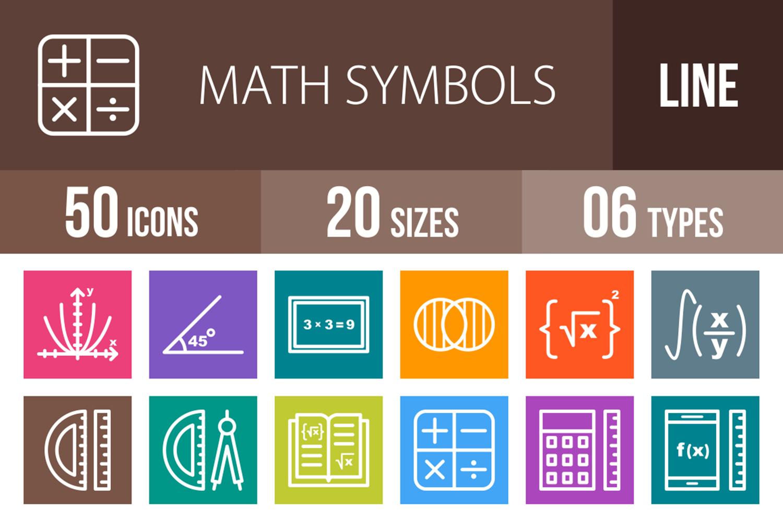 50 Math Symbols Line Multicolor B/G Icons example image 1