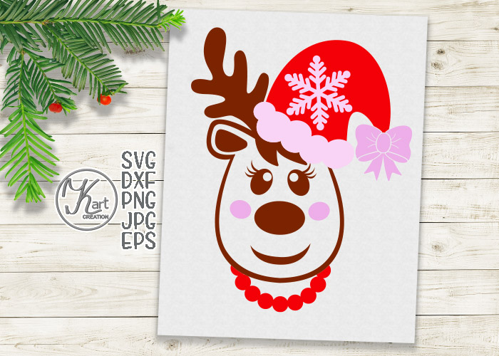Christmas Reindeer in Santa hat with bow girl toddler svg example image 1