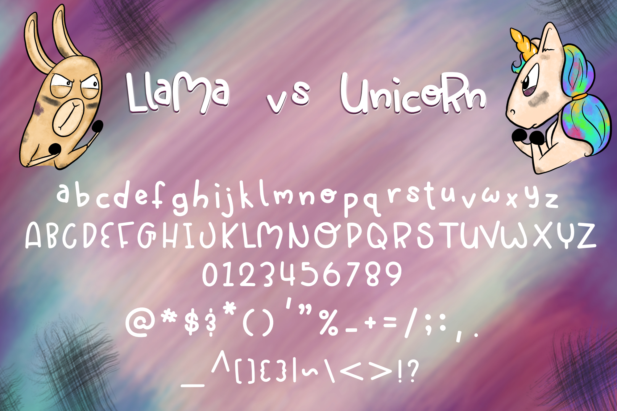 Llama vs Unicorn| A Dueling monoline font example image 2
