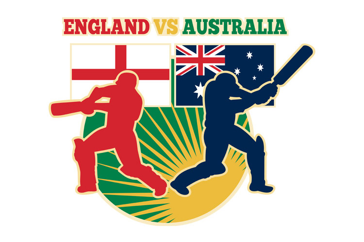 cricket sports batsman England vs Australia flag example image 1