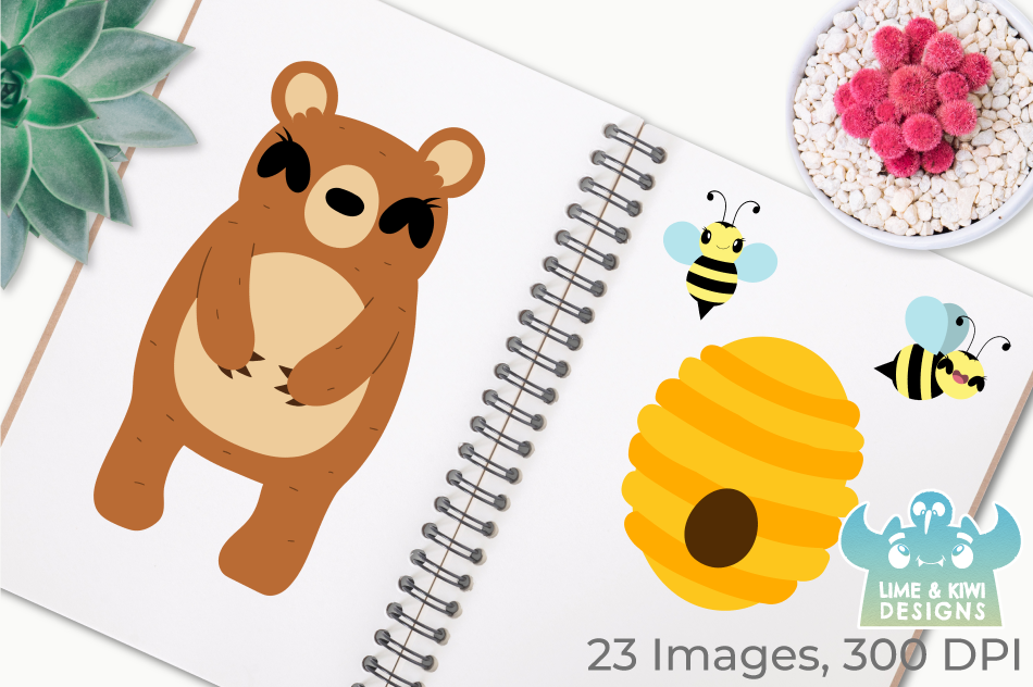 Bear Girls Clipart, Instant Download Vector Art example image 3