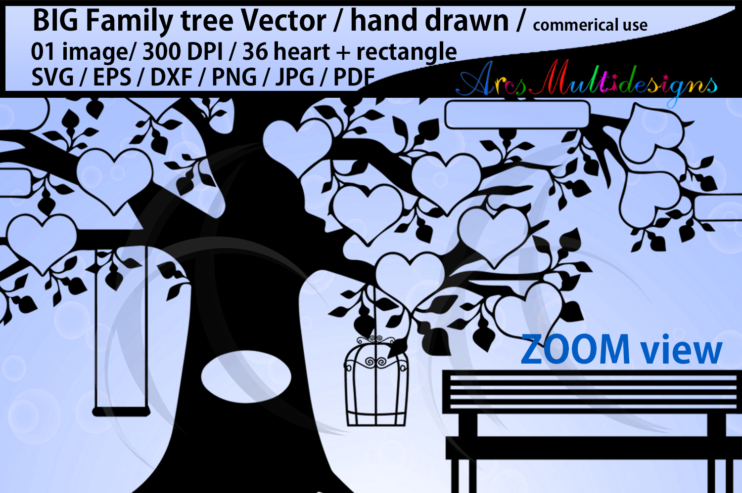 36 hearts Big family tree clipart with added rectangle example image 2