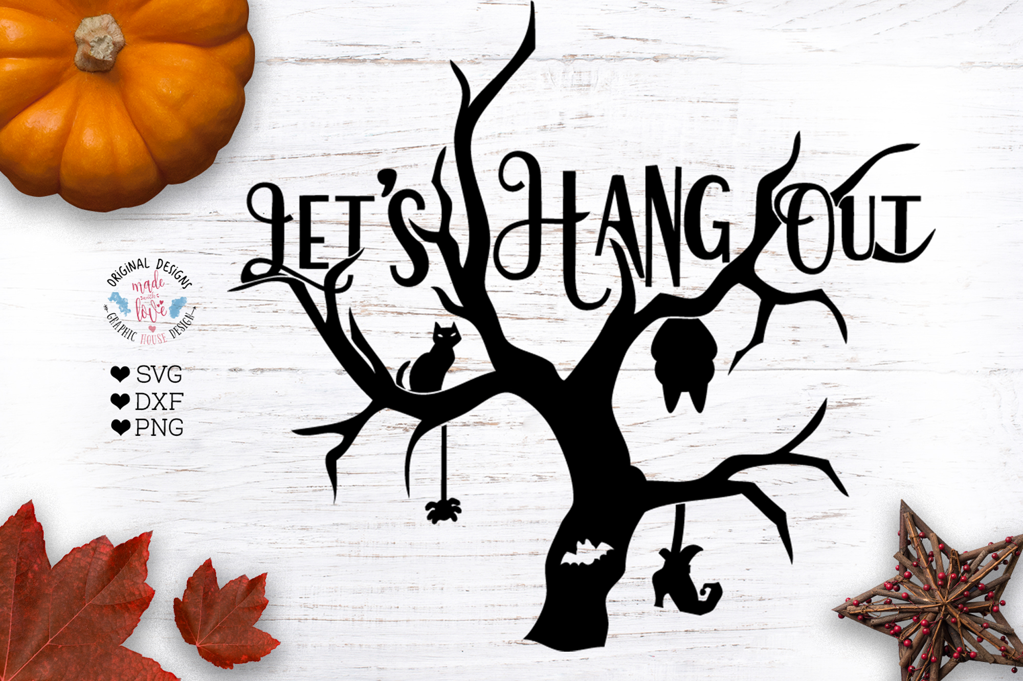 Lets Hang Out Funny Halloween Cut File example image 1