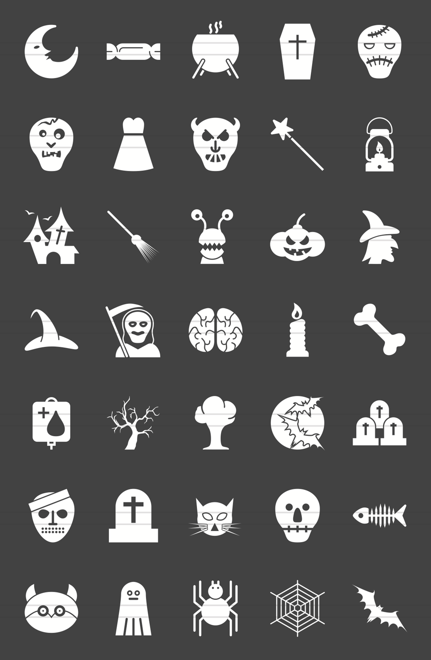35 Halloween Glyph Inverted Icons example image 2