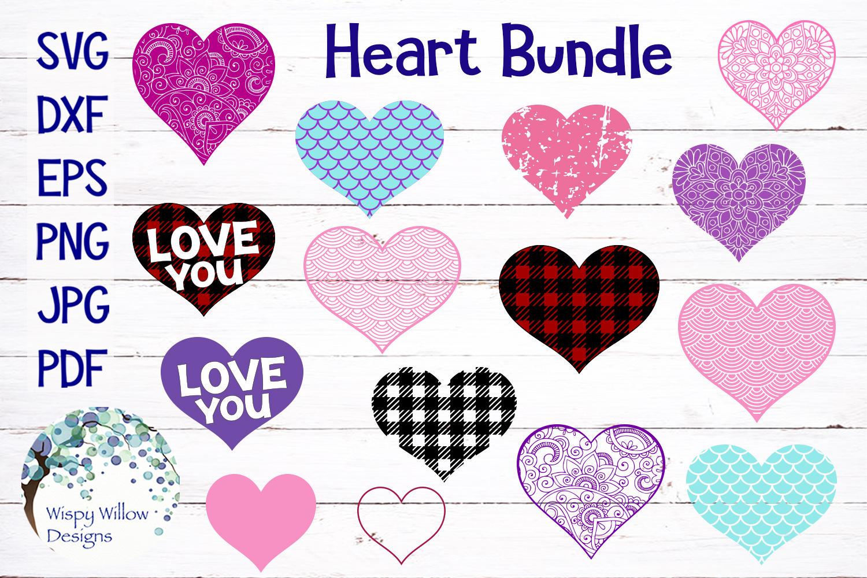 Heart Bundle | Plaid, Mermaid Scales, Mandala, Zentangle example image 1