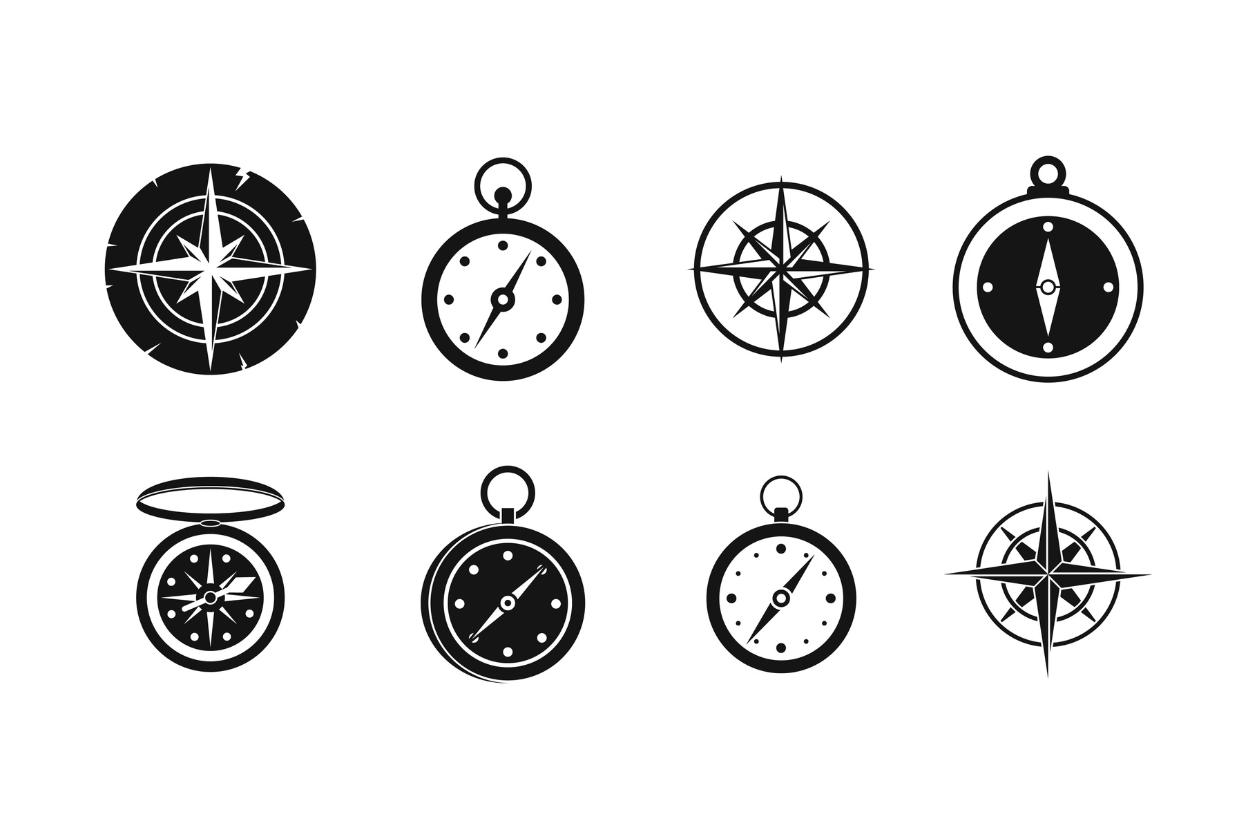 Compass icon set, simple style example image 1