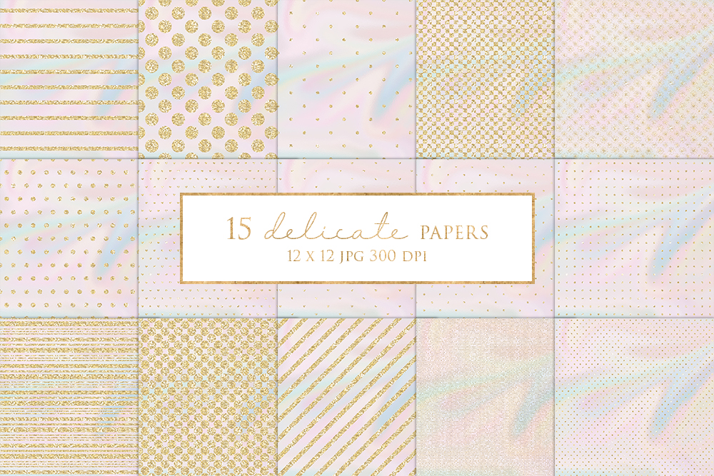 15 Gold Glitter Stripes and Dots Digital Paper Pack example image 1