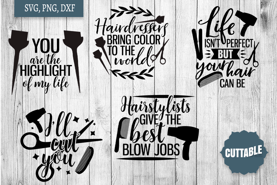 Hairdressers quote SVG bundle, Hairstylist cut file bundle example image 3