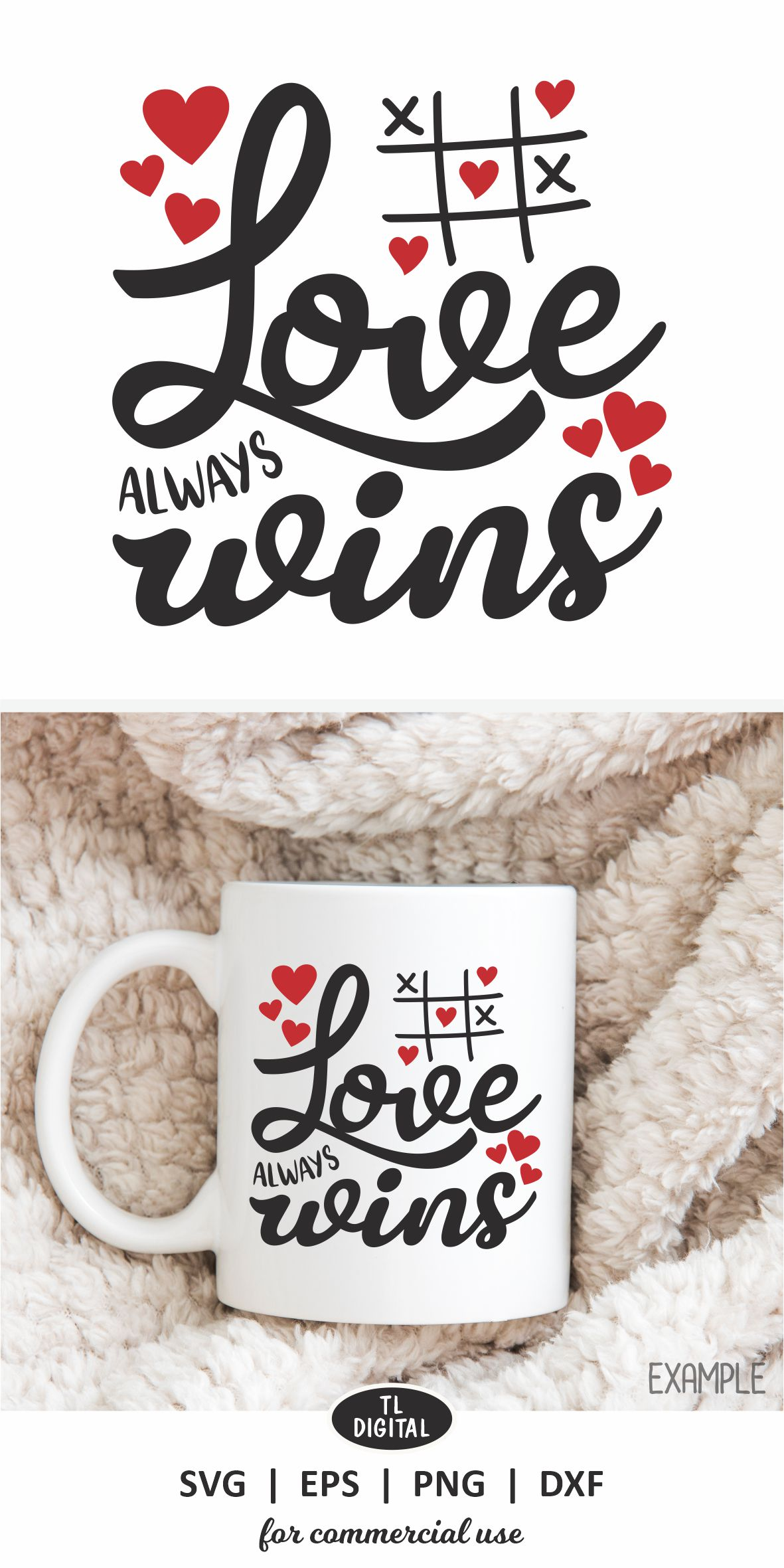 Love Always Wins - SVG   EPS   PNG  DXF - Valentines Graphic example image 3