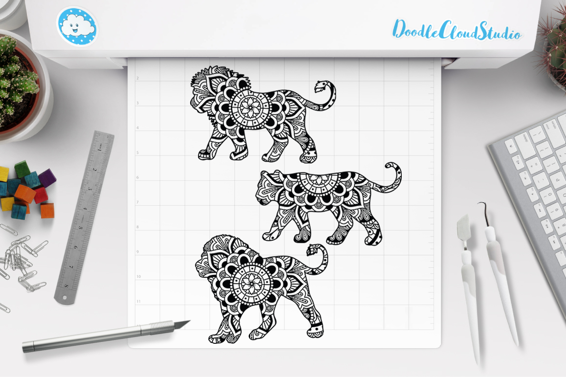 Download Lion Mandala SVG Cut Files, Lioness Mandala SVG.