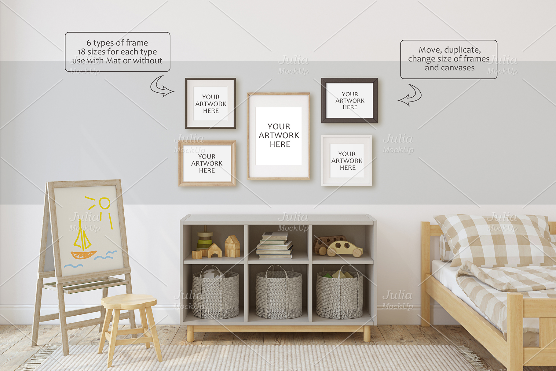 Toddler room. Wall&Frames Mockup. example image 5