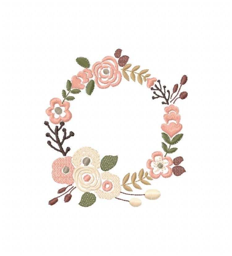 Floral Wreath Font Frame Monogram Design - EMBROIDERY DESIGN FILE - Instant download - Vp3 Hus Dst Exp Jef Pes formats 5 sizes 3,4,5,6,7inch example image 1