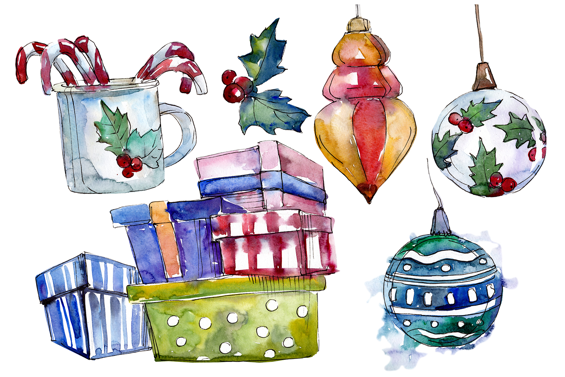 Christmas tea-drinking watercolor PNG example image 1