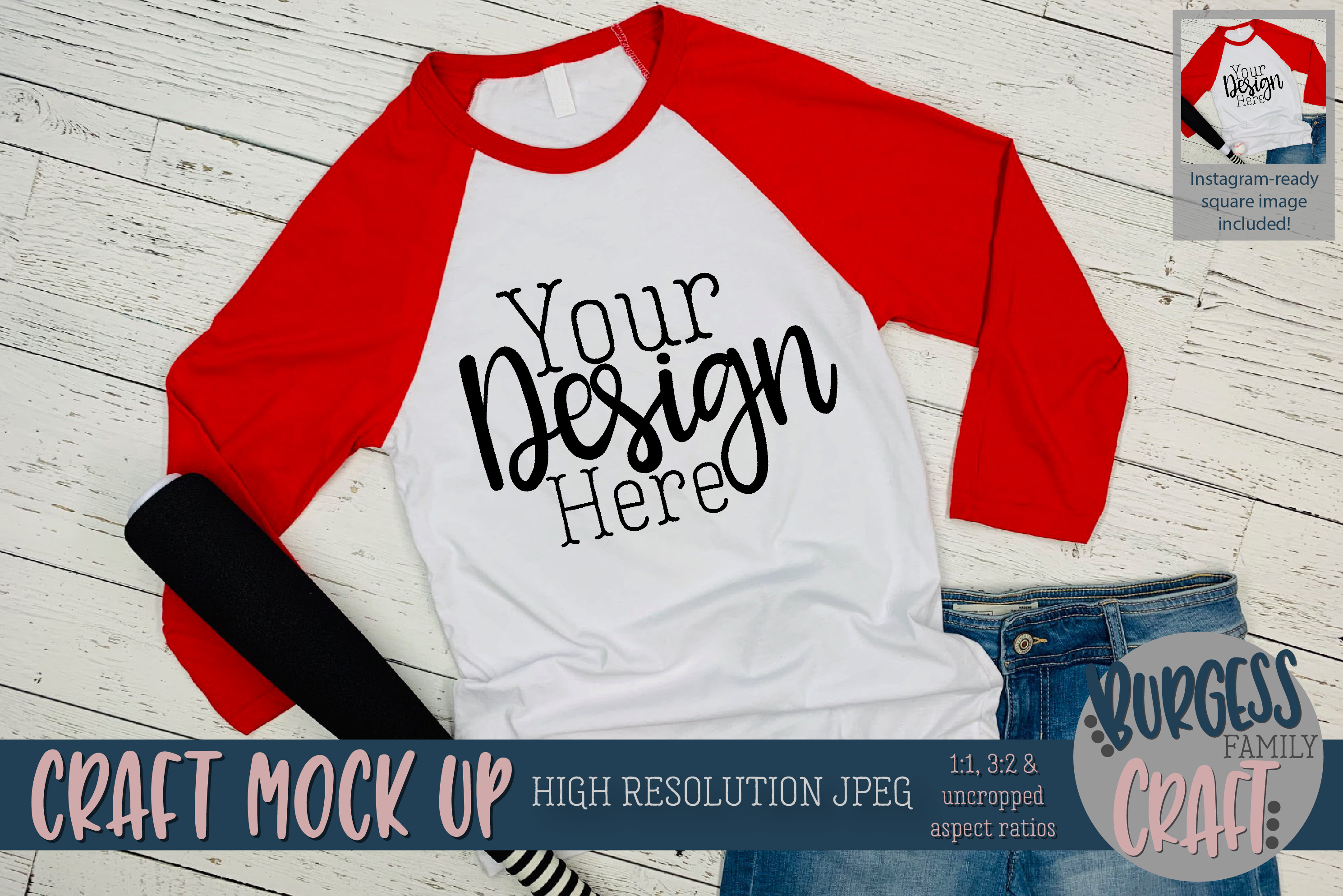 Red baseball raglan 3200 Craft mock up | High Res JPEG example image 1