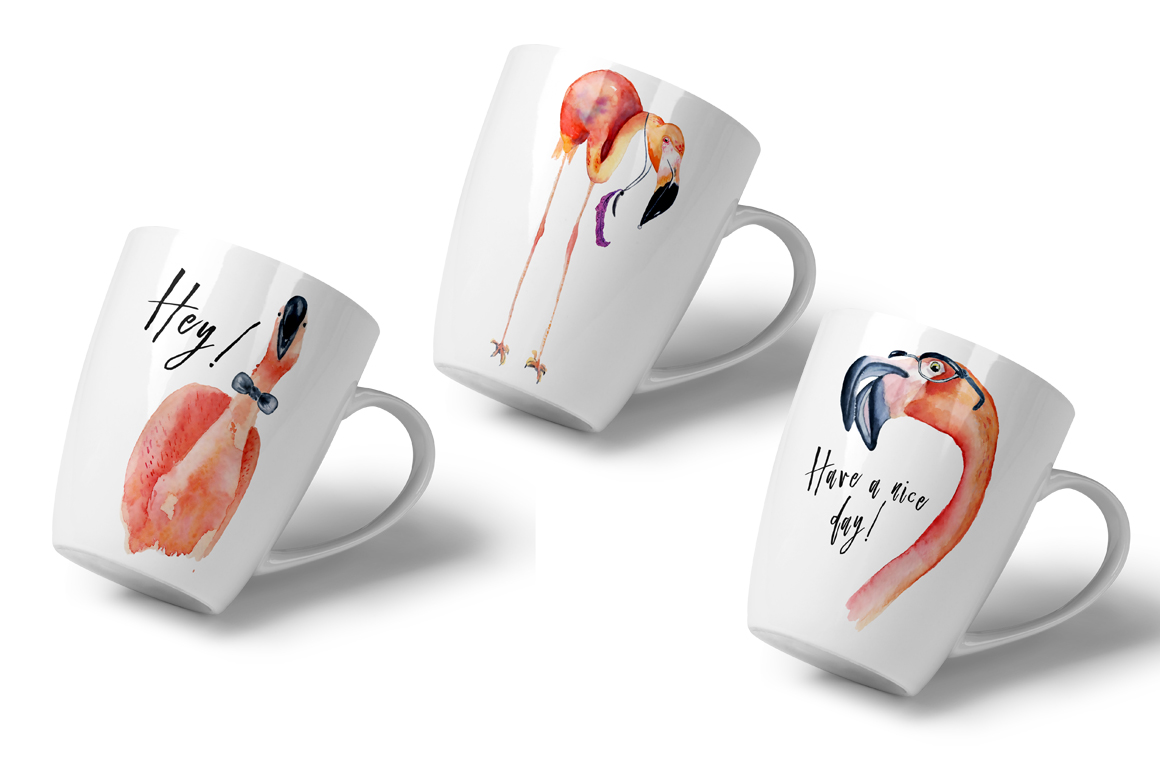Boho flamingo Watercolor set example image 7