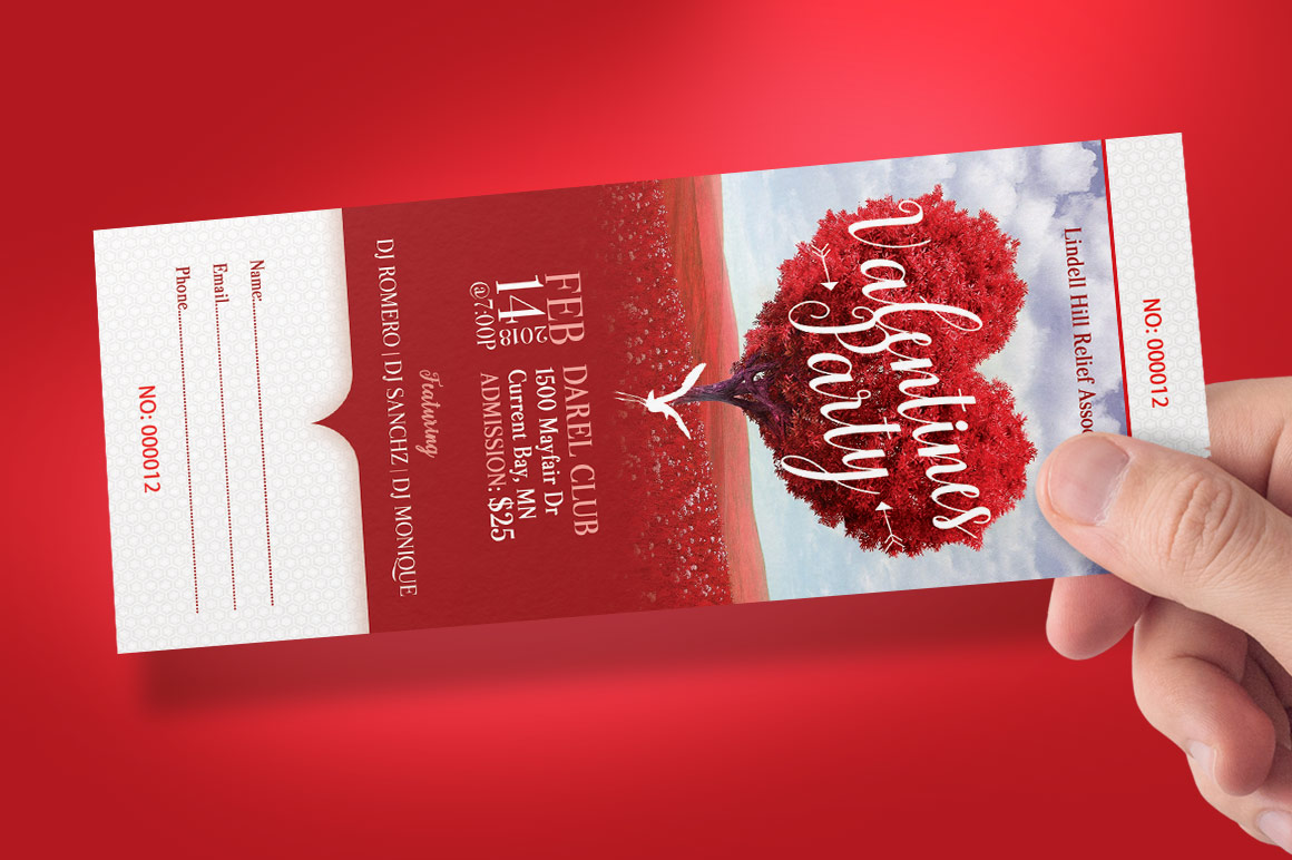 Tree Heart Valentines Party Ticket Template example image 9