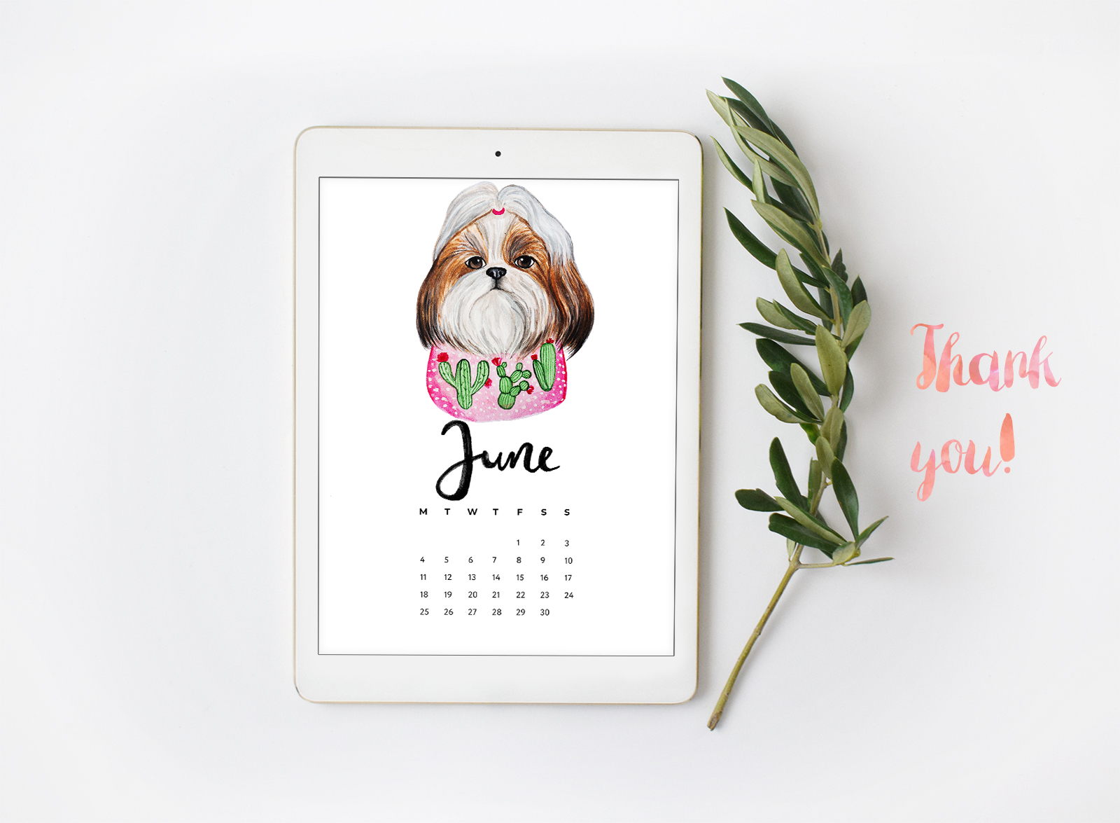 Watercolor Cute Dogs+Calendar example image 3