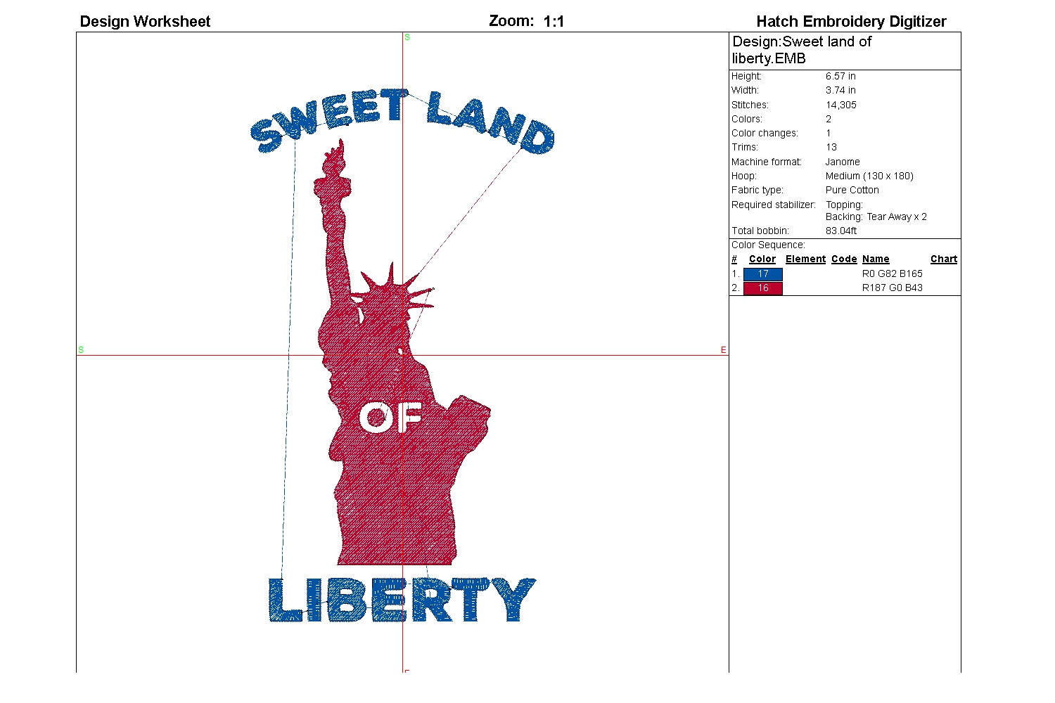 Sweet land of liberty| Independence day | Machine embroidery example image 3