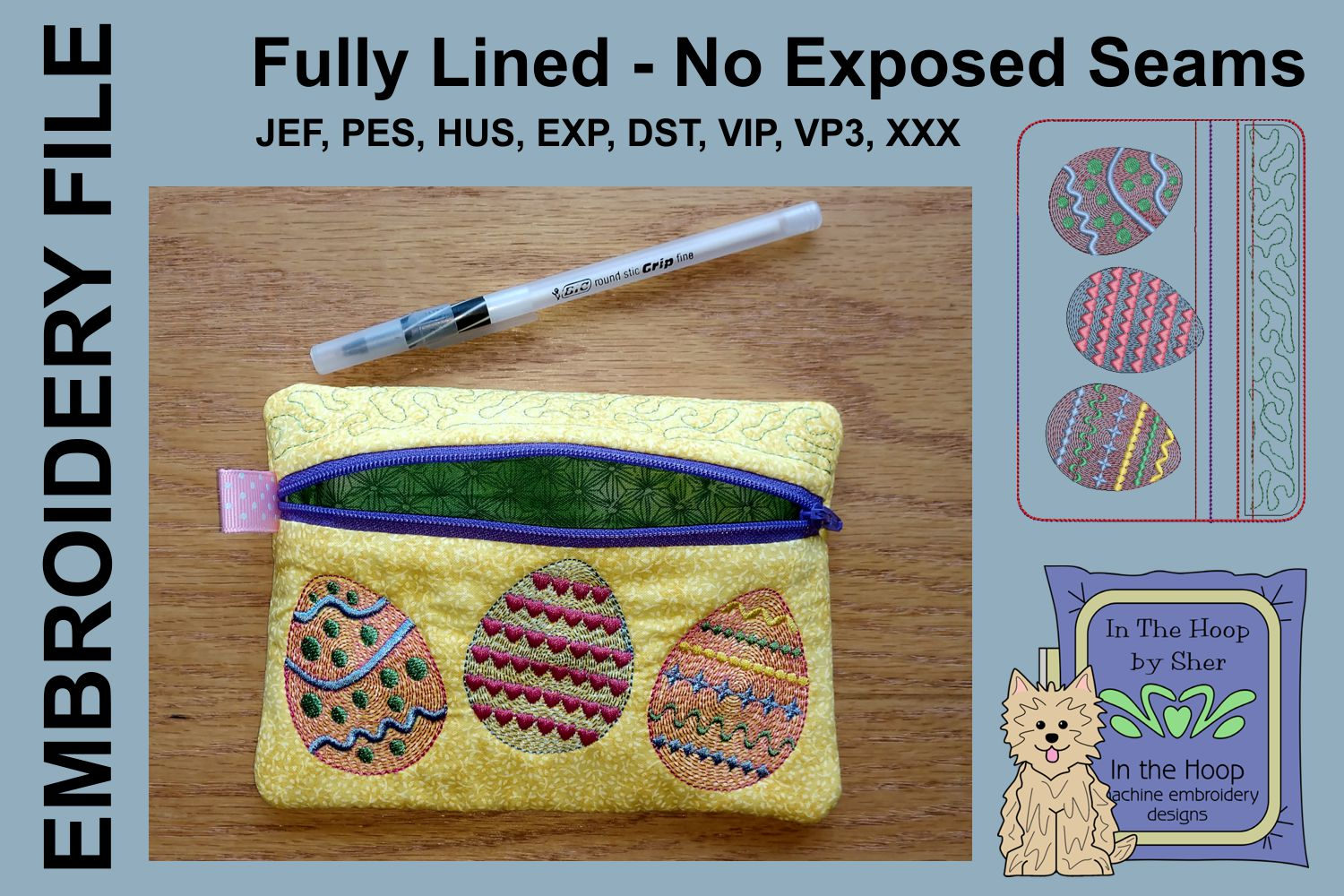 ITH Easter Eggs Zipper Bag - Fully Lined, 5X7 HOOP example image 2