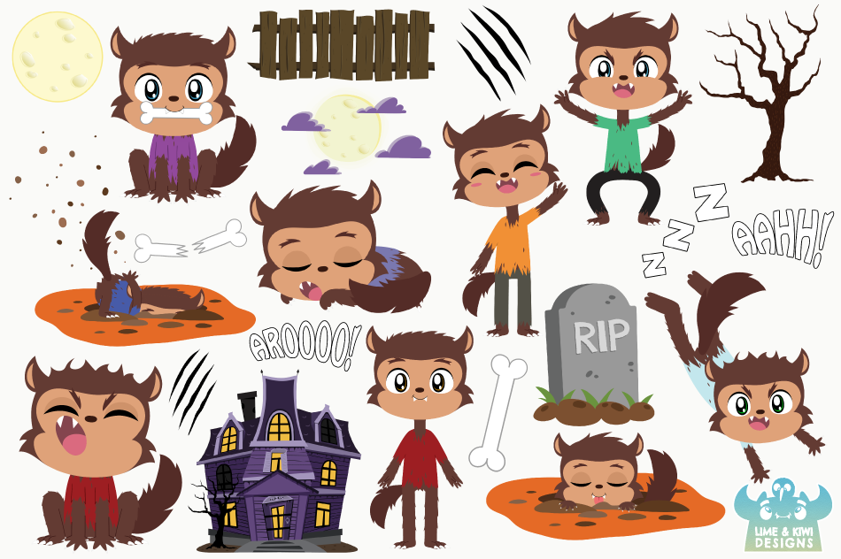 Werewolf Boys Clipart, Instant Download Vector Art example image 2