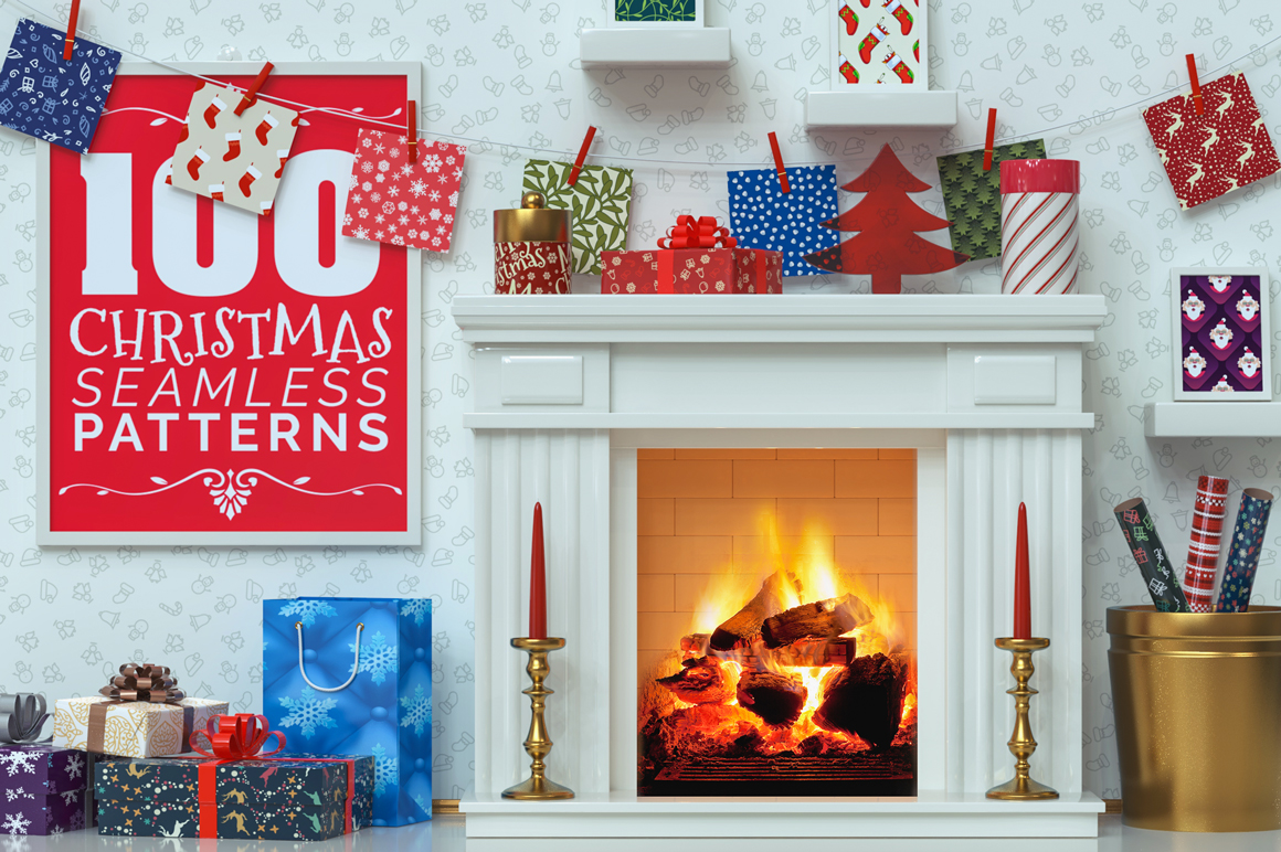 100 Christmas Seamless Patterns example image 1