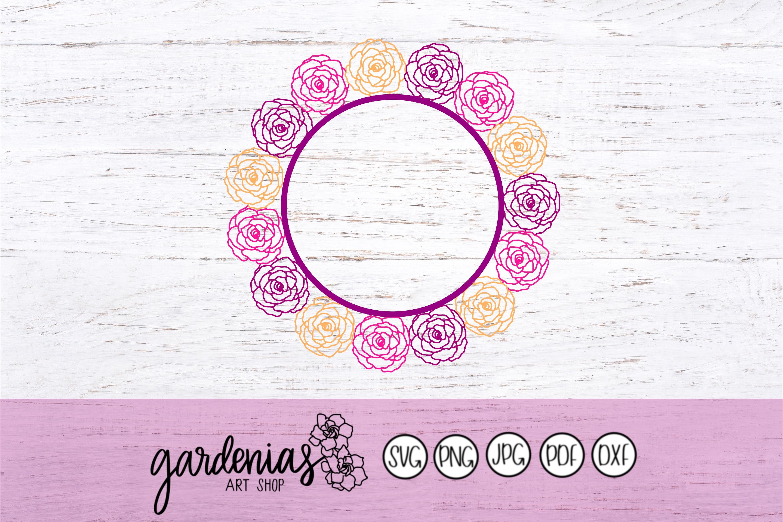 Rose Flower Wreath SVG   Rose Flower Frame   Rose Cut File example image 2