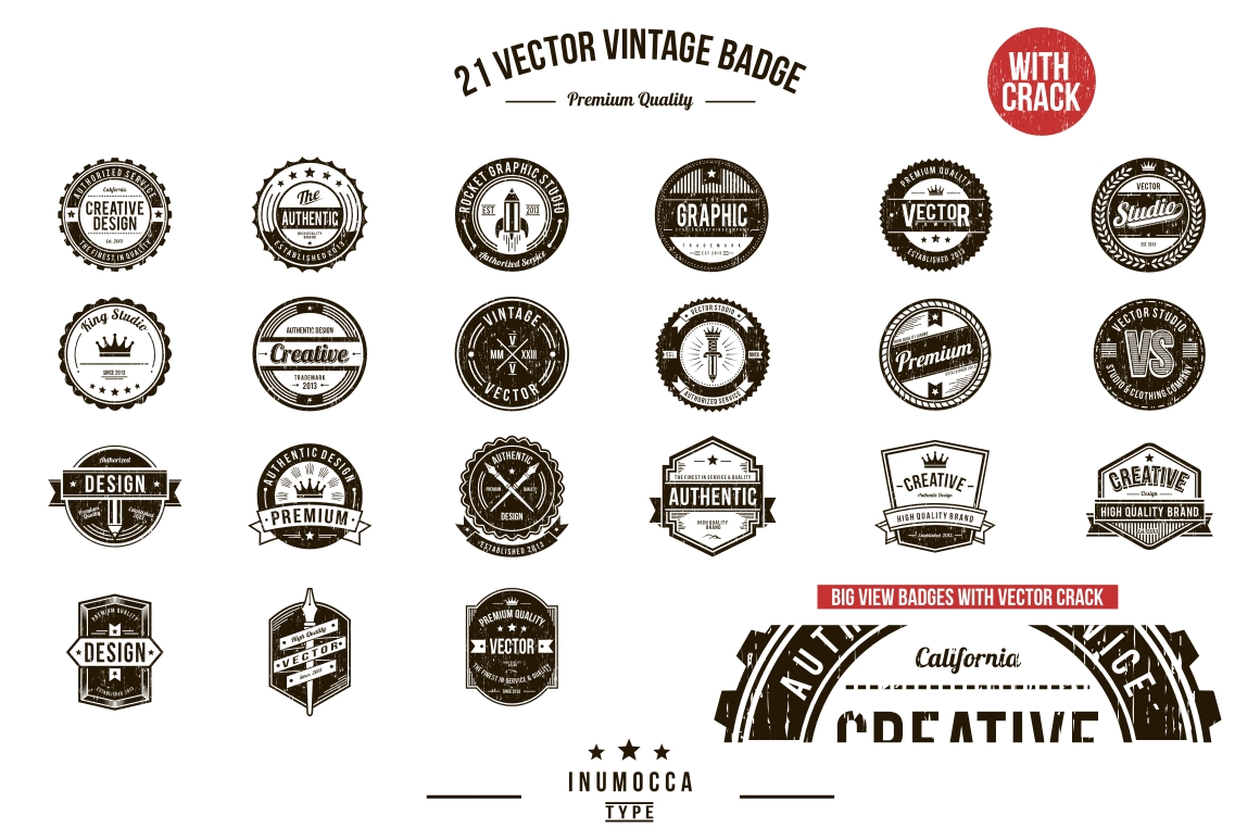 21 Vintage Badges (CLEAR & CRACK) example image 5
