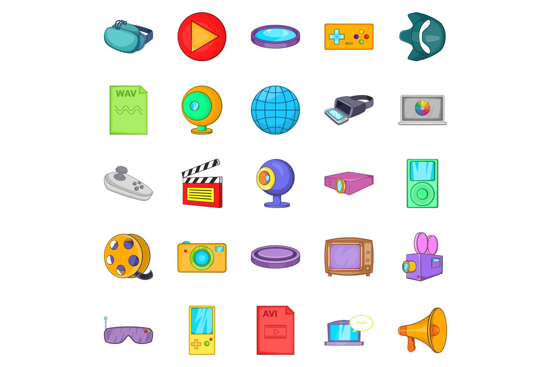 Film icons set, cartoon style example image 1