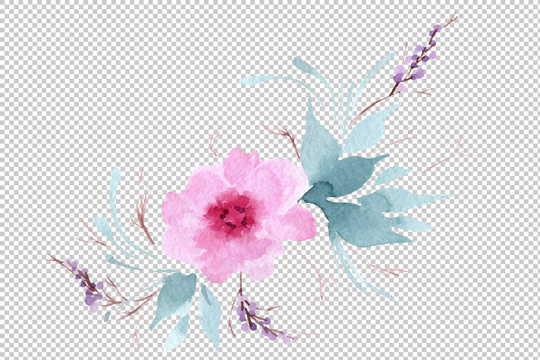 Delicate colorful peony PNG watercolor set example image 7