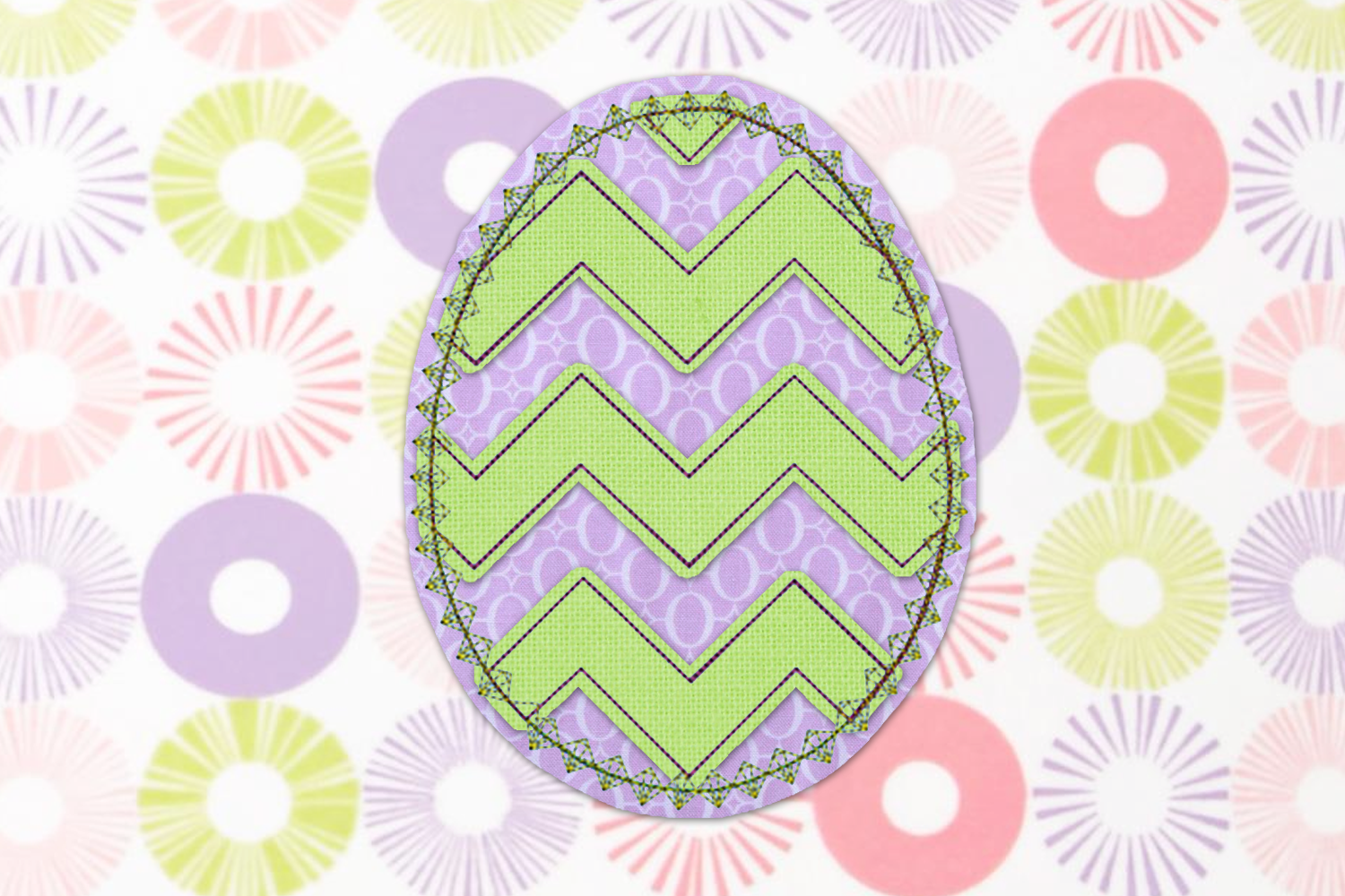 Raggy Chevron Easter Egg Applique Embroidery Set example image 2