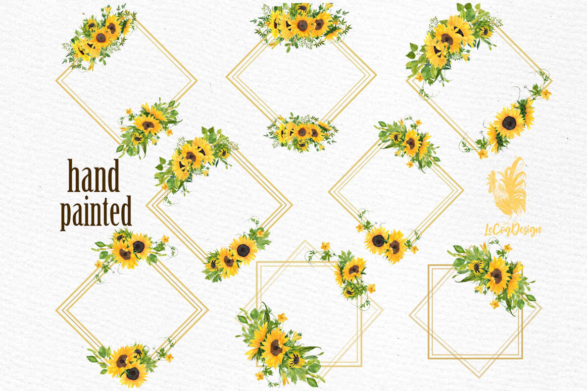 Geometric Sunflower Gold Frames, Wedding Frames clipart ...