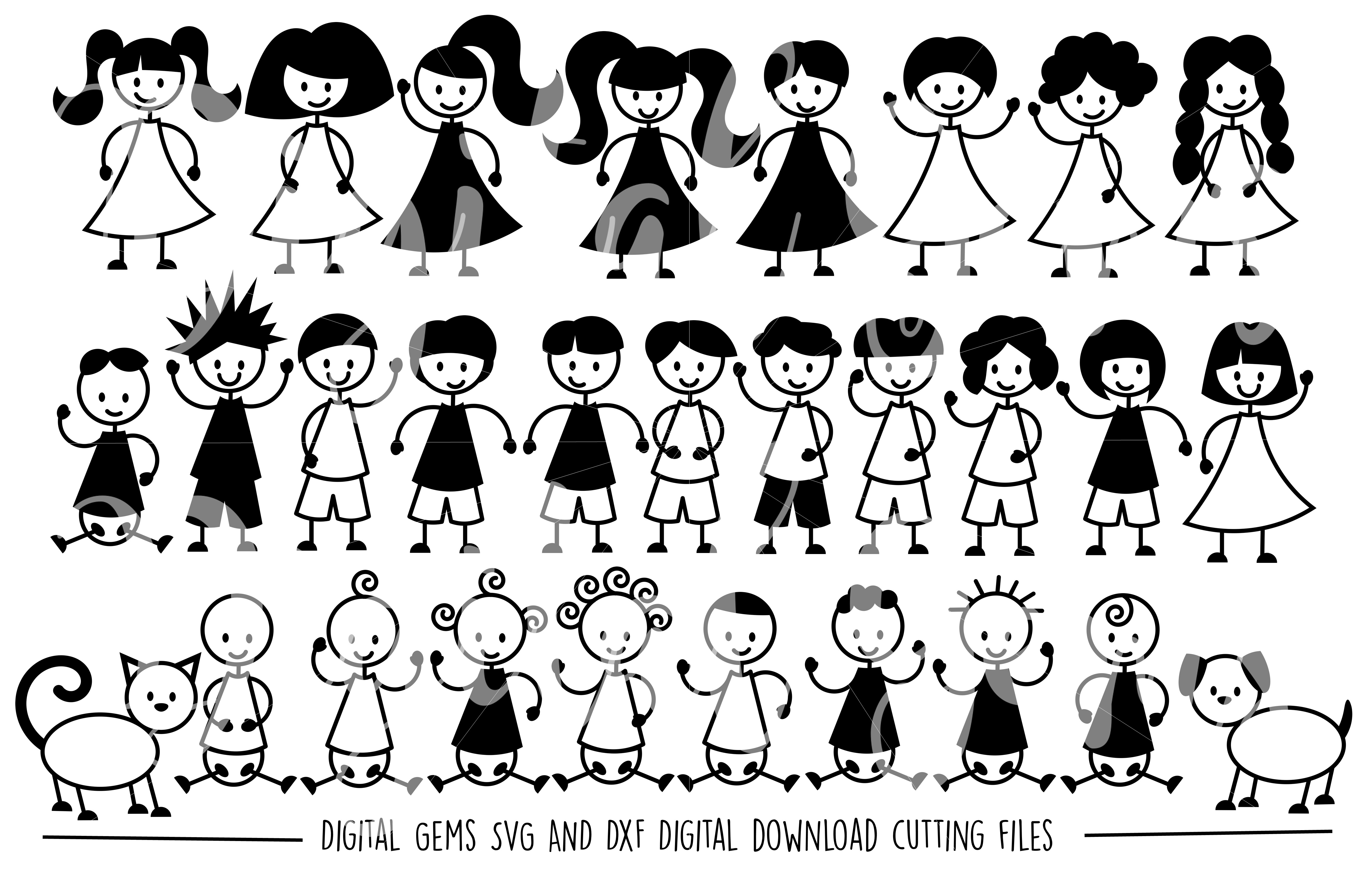 Stick People SVG / DXF / EPS / PNG Files example image 1