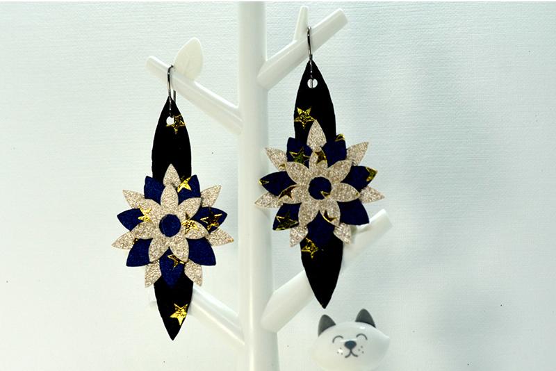 Flower earrings template SVG, DIY earrings template bundle example image 5