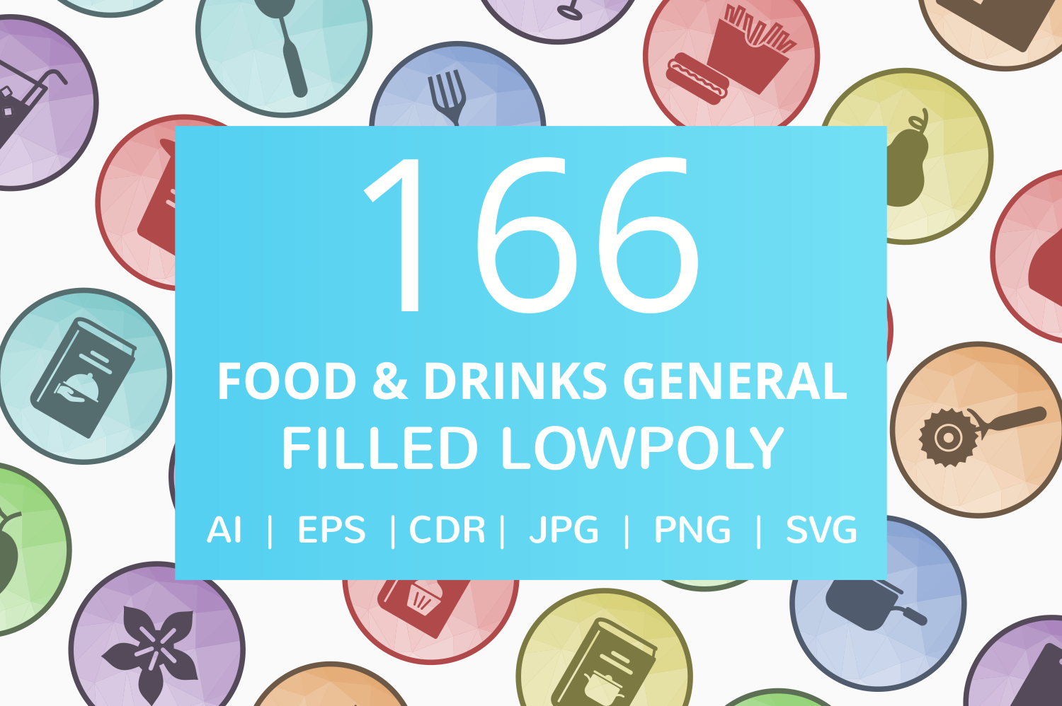 166 Food & Drinks General Filled Low Poly Icons example image 1