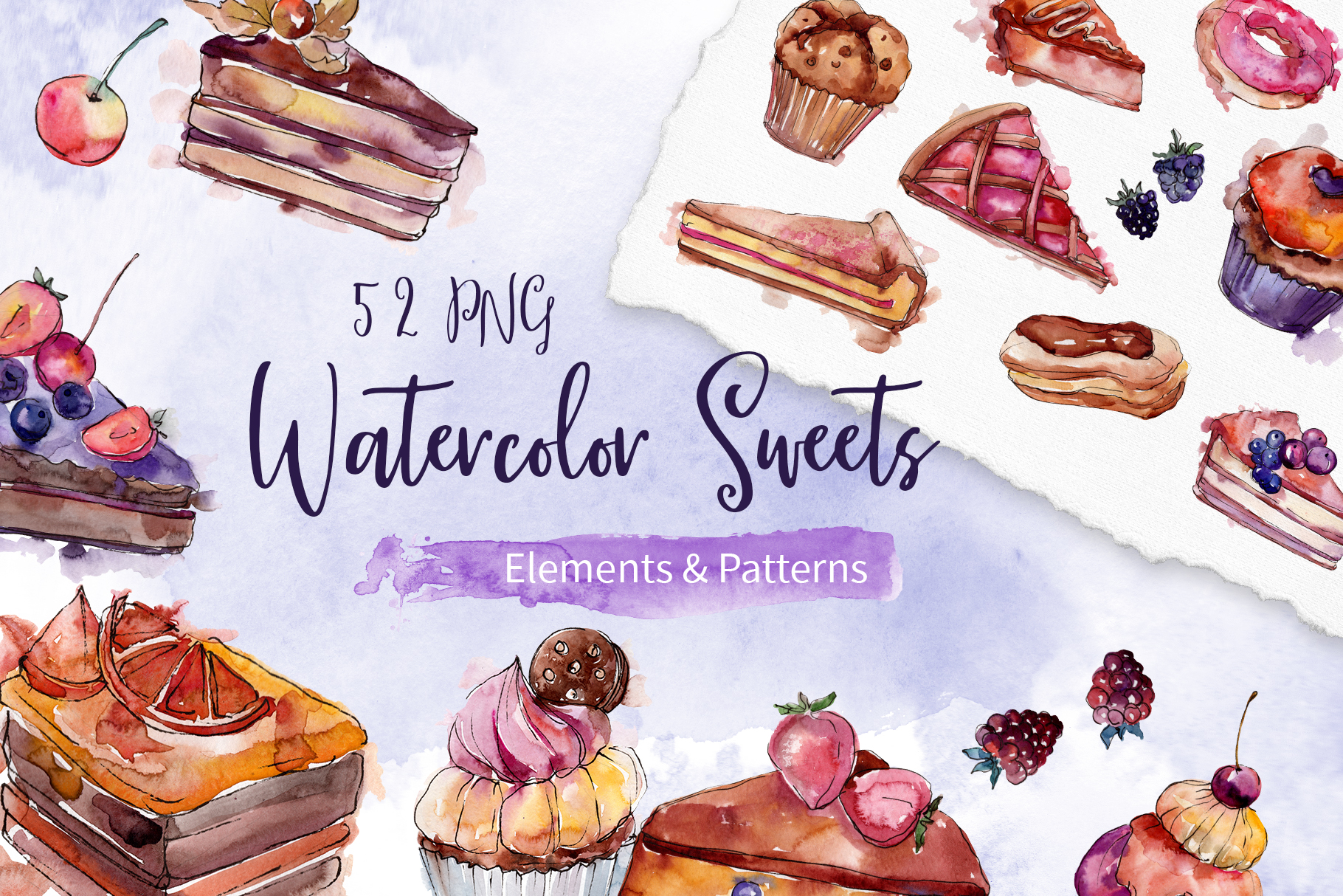 Cake sweet happiness watercolor png example image 1