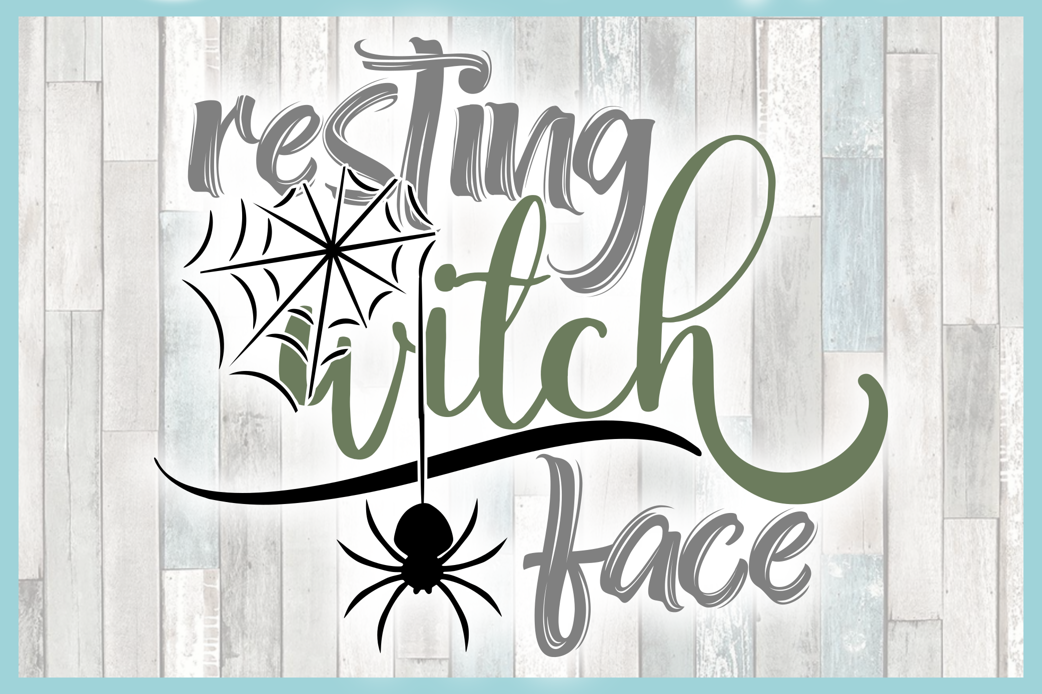 Resting Witch Face with Spider Web SVG example image 3